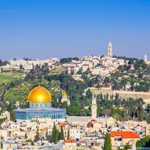 Jerusalem, Israel Old City skyline.